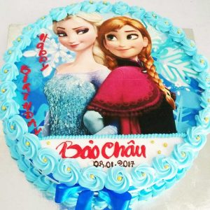 bánh sinh nhật in hình elsa và anna