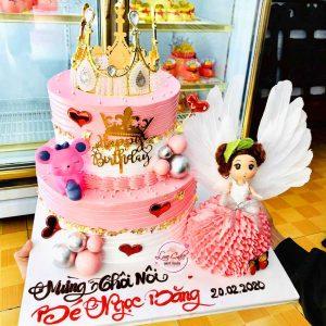 Bánh sinh nhật vương miện hai tầng dành cho bé gái