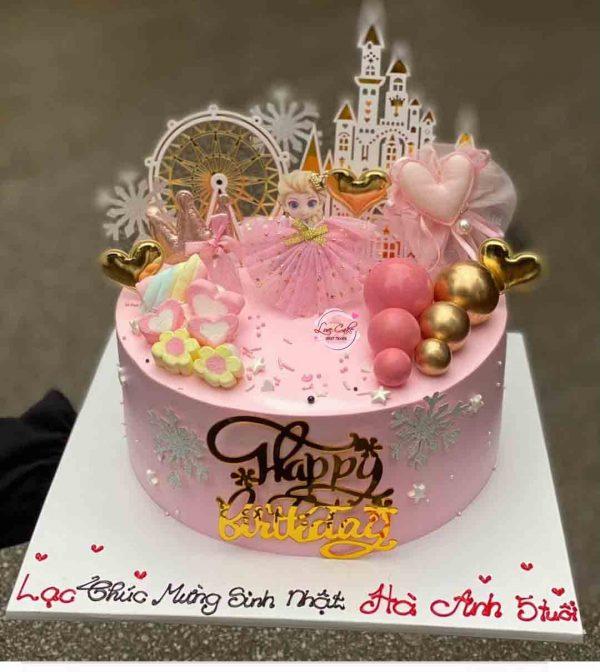 Bánh sinh nhật elsa màu hồng